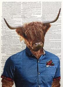 A3 Highland Cattle Cow Print Dictionary Page Picture Red Tartan Animal Tartan