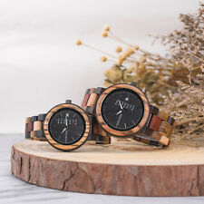 BOBO BIRD Men Wooden Watch Colorful Bamboo Week & Date Display Quartz Couples