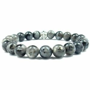 Larvikite 8mm Round Crystal Bead Bracelet with Description Card