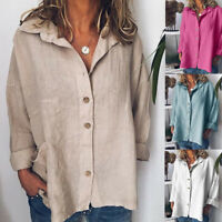 Women Cotton Linen Solid Long Sleeve Shirt Casual Loose Blouse Button Tops