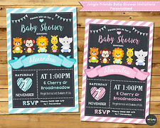 JUNGLE ANIMALS BABY SHOWER PERSONALISED INVITATIONS SAFARI BOY GIRL UNISEX CUTE