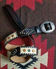 Ralph Lauren RRL Vintage Distressed Studded Brown Leather Belt