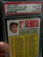 1967 Topps #103 Mickey Mantle CHECKLIST PSA 8 NM-MT