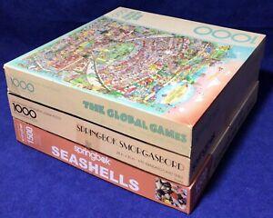 Lot 3 Vintage Springbok Jigsaw Puzzles COMPLETE Global Games Seashells