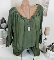 Bluse TUNIKA Vintage BLÜTEN Spitze OVERSIZE KHAKI Perlen HIPPIE Shirt 38 40 42