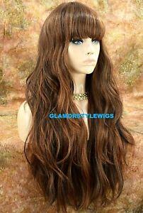 HUMAN HAIR BLEND FULL WIG LONG WAVY LAYERED BANGS OMBRE BROWN AUBURN MIX NWT