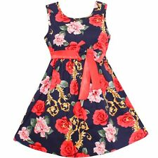 Girls Dress Dark Blue Floral Bow Party Princess Wedding Children Clothes SZ 4-14