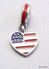 e272410e6 NEW/TAGS AUTHENTIC PANDORA SILVER CHARM USA FLAG HEART DANGLE #791548ENMX