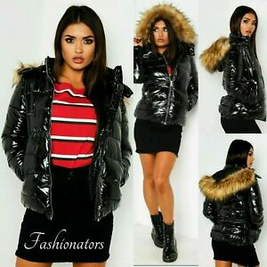 New Womens Wet Look Puffer Coat Winter Shiny PU Padded Faux Fur Jacket Hooded