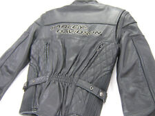 womens harley davidson leather jacket xs black competition liner zip bar vented
