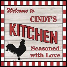 CINDY'S Kitchen Welcome to Rooster Chic Wall Art Decor 12x12 Metal Sign SS72