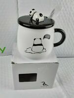 China Giant Panda Bear Ceramic Coffee Tea Mug Drink Cup With Spoon And Lid 12oz