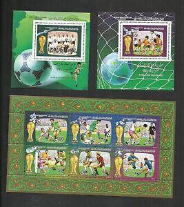 1986 - Libya- Football World Cup - Mexico 1986- 3 Minisheets MNH**