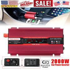 2000W Car Solar Power Inverter DC 12/24V To AC 110/220V USB Sine Wave Converter