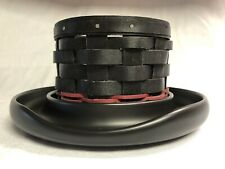 Longaberger Black Top Hat Basket & Ceramic Pottery Base Halloween Snowman Exc