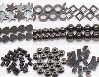 20-100pcs Black Hematite Gemstone Spacer Beads Round Square Star Heart U Pick