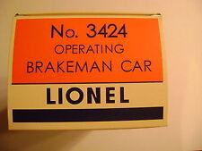 Lionel 3424 Operating Brakeman Car Licensed Repro Box w/3424-100 Box & Insert