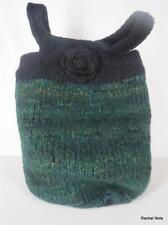 HANDMADE Artisan Boiled Felted Wool Flower Green Black Knit Tote Purse Handbag