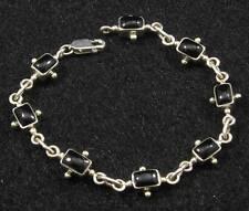 ".925 Sterling Silver Petite  Art Deco Style Black Onyx Gemstone Bracelet  6 1/2"""