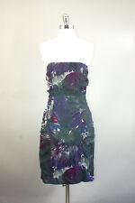 Betsey Johnson paint multi-color burnout velvet brocade strapless dress sz 6