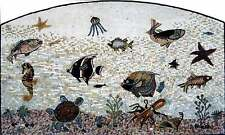 "68"" Handmade Art Tile Stone Sea Creatures Various Fish And Sealife Marble Mosaic"