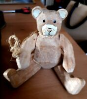 Gorgeous Vintage Hand Carved Wooden Jointed Teddy Bear 17cms VGC
