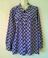 WOMEN'S NOTATIONS BLUE WHITE PRINT ROLL TAB LONG SLEEVE BLOUSE WITH POCKETS XL