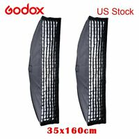 2x Godox 35x160cm Honeycomb Grid Softbox Bowens Mount Studio Strobe Flash Light