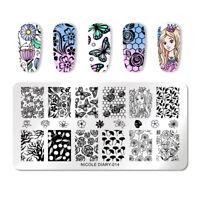 NICOLE DIARY Nail Stamping Plates Flower Rectangle DIY Design Nail Art Tools