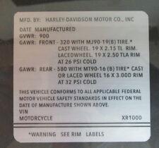 Harley XR-1000 ID VIN Decal for Frame Harley-Davidson XR XR1000 XR 1000