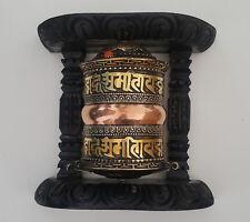 /lat/ón y madera hecho a mano en Nepal Tibetano Om Mani Padme Hum Hand Held colgar en la pared rueda de oraci/ón/