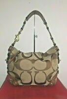 COACH CARLY #10619 Brown Signature Jacquard Shoulder Bag Hobo Purse Handbag