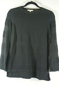 NEW Eileen Fisher Organic Cotton Sheer striped Sweater in black - Size S