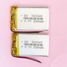 2pcs 3.7V 330mAh li-Polymer lipo Battery with PCM For GPS Camera DVD MP3 303048