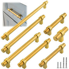 Gold Satin Brass Brushed Modern Cabinet Handles Pulls Kitchen Hardware Stainless