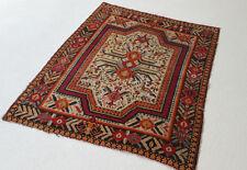 """Antique Oriental rug Kazak Hand Knotted Russian carpet 4' 8"""" X 3' 10"""" unique"""