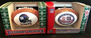 2x TOUCHDOWN TREASURES NY GIANTS CHRISTMAS ORNAMENTS XLII NFL