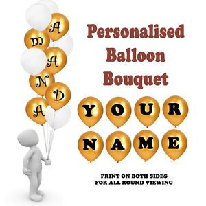 PERSONALISED PARTY DECORATIONS HAPPY BIRTHDAY BALLOONS BOUQUET NAME 30CM HELIUM