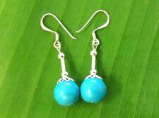 100% Real 925 Sterling Silver 10mm TURQUOISE dangling drop earrings - GIRL WOMEN