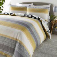 """Fusion """"Hendra"""" Striped Reversible Easy Care Duvet Cover Bedding Set Ochre"""