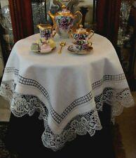 """Beautiful Antique Linen Bobbin Lace Tablecloth 45"""" Topper Tea Luncheon Pristine"""
