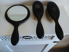 Antique Early 1900 Ebony & Silver 2 brushes and mirror.