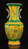 China Nature Fired Colour Glaze Hand-painted Flower Design Porcelain Vase
