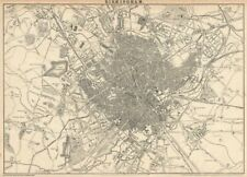 BIRMINGHAM. Large town/city plan by JW LOWRY for the Dispatch Atlas 1863 map