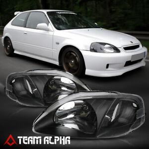 Fits 1999-2000 Honda Civic EK[Black/Clear]Crystal Corner Headlight Headlamp Lamp