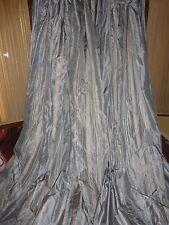 RESTORATION HARDWARE SILK BLUE RIBBON STRIPE (PAIR) DRAPERY PANELS 47X108