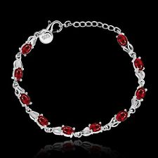 925 Sterling Silver Made With Swarovski Ruby Red Crystal Gem Chain Bracelet