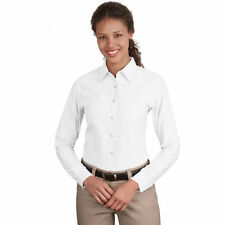 Port Authority Ladies wrinkle-resistant Long Sleeve Classic Oxford Shirt White M