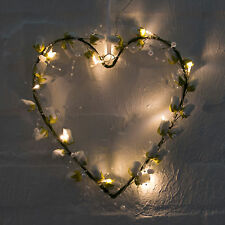 Sass & Belle White Roses Heart With LED String Lights Wedding Decoration 26x26cm