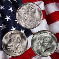 Walking Liberty, Franklin & Kennedy silver Half Dollars!